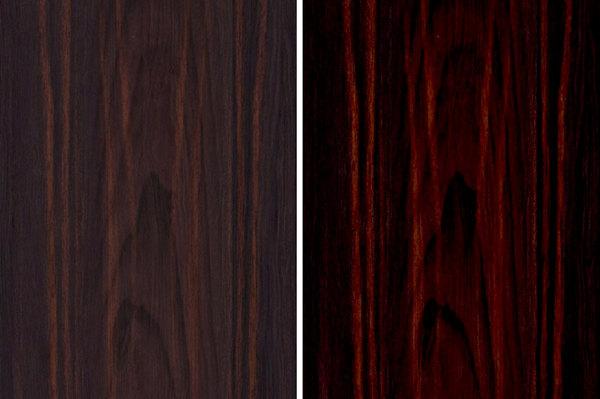 志成红木黑酸枝产品精磨工艺(左)与上漆(右)对比